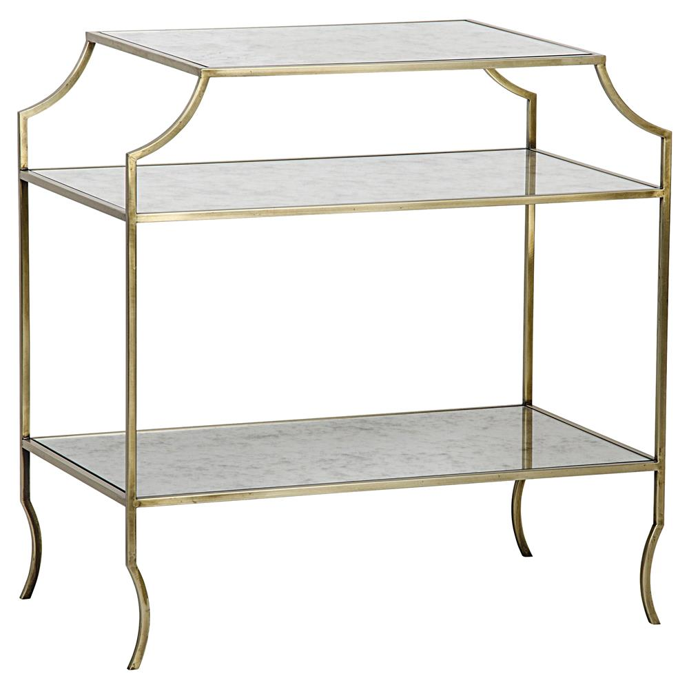 Kathy Modern Gold Antique Mirror Shelf 3 Tier Side Table Kathy Kuo