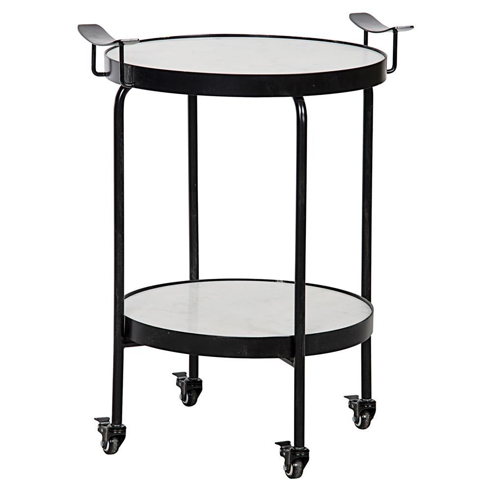 Berend Industrial Black Metal Wheeled Round Side Table
