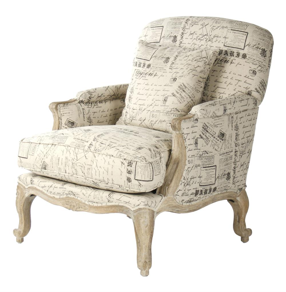 French country literary script linen club chair kathy for Furniture in french