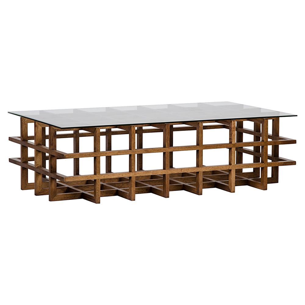 Falken Coastal Dark Brown Walnut Lattice Crate Glass Coffee Table Kathy Kuo Home