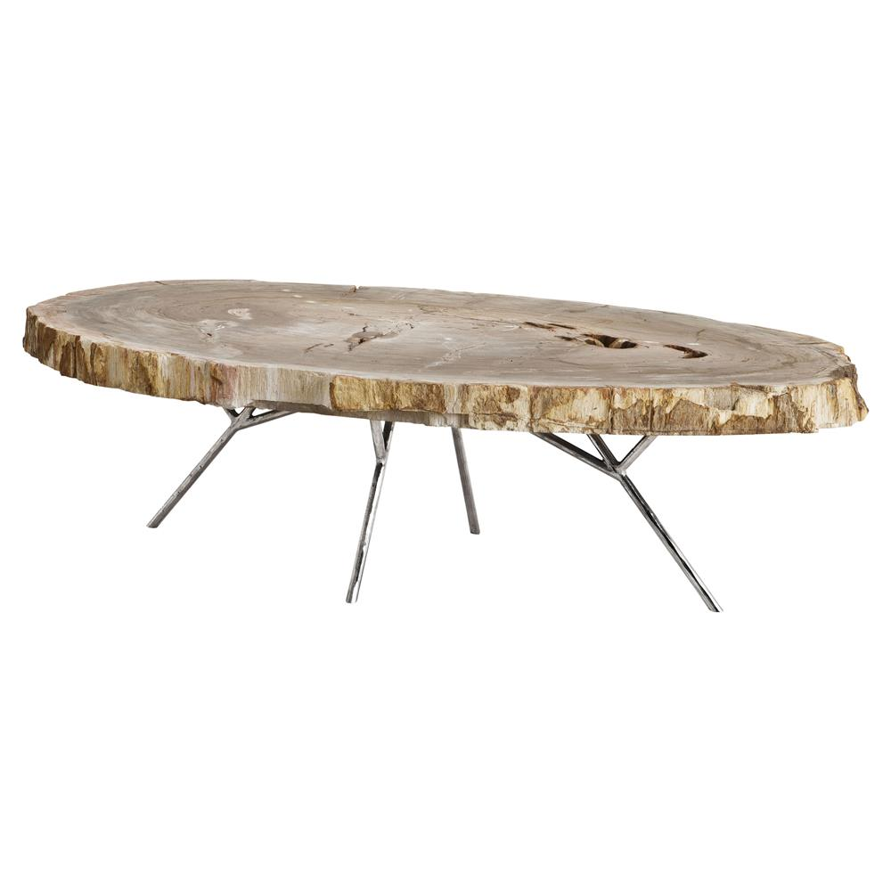 Modern Brown Tree Trunk Silver Metal Coffee Table Kathy Kuo Home