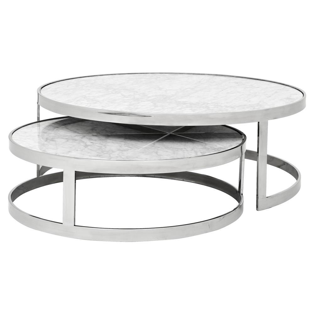 Eichholtz Orlando Modern Silver White Stone 2 Piece Round Coffee Table Kathy Kuo Home