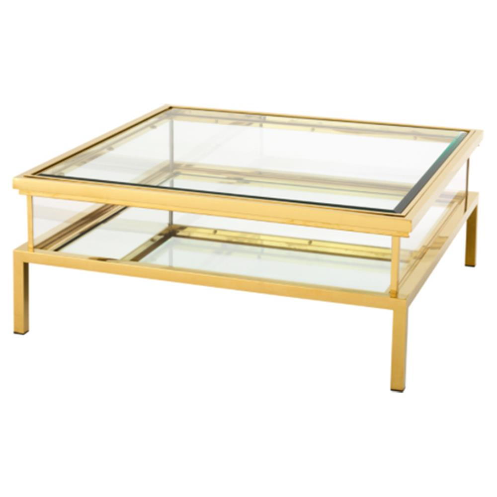 Blanchett Hollywood Gold Frame Sliding Glass Square Coffee Table Kathy Kuo Home