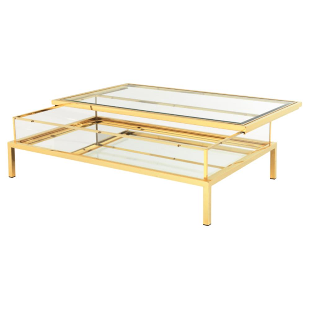 Blanchett Hollywood Gold Sliding Glass Rectangular Coffee Table Kathy Kuo Home