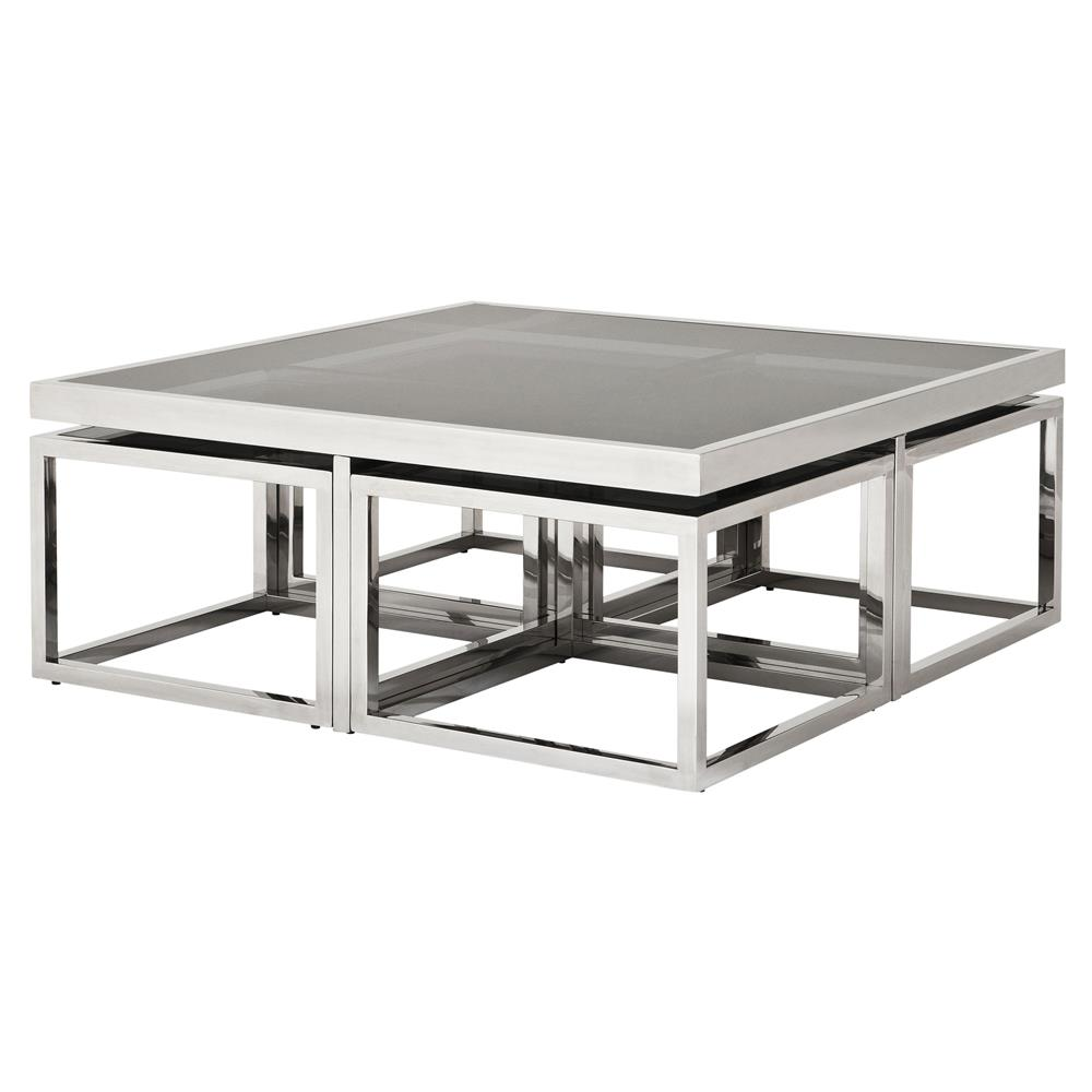 Eichholtz Brubeck Hollywood Silver Black Gl 5 Piece Square Coffee Table Kathy Kuo Home