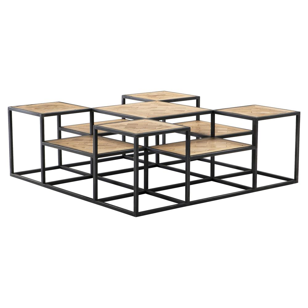 Eichholtz bertrand industrial black metal tiered reclaimed oak coffee table kathy kuo home Industrial metal coffee table