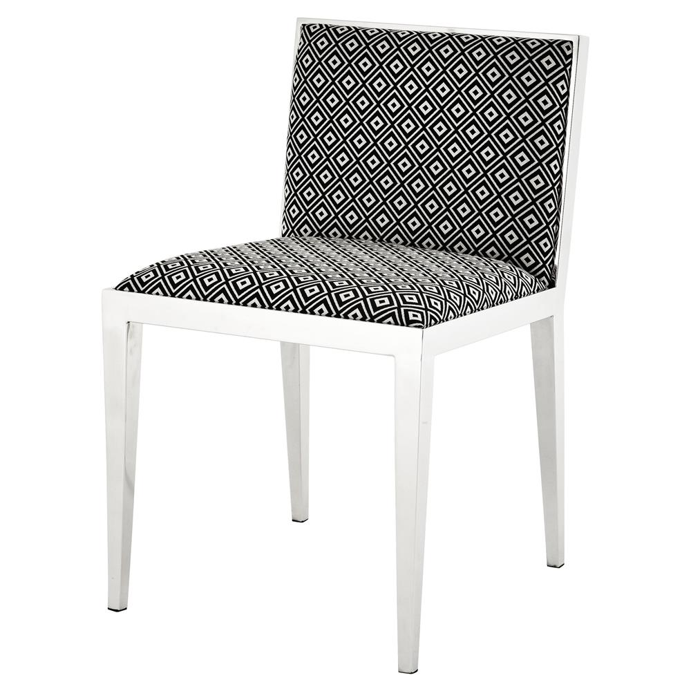 Black And White Dining Room Chairs: Eichholtz Angie Modern Silver Black And White Upholstered