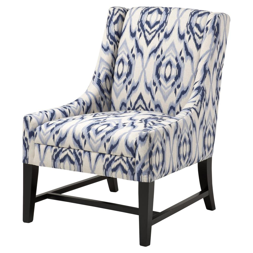 Dorset coastal blue cream pattern upholstered living room - Blue accent chairs for living room ...