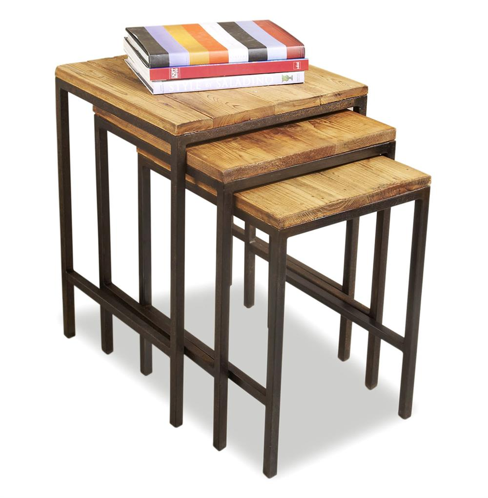 Carson Reclaimed Wood Rustic Nesting Tables | Kathy Kuo Home