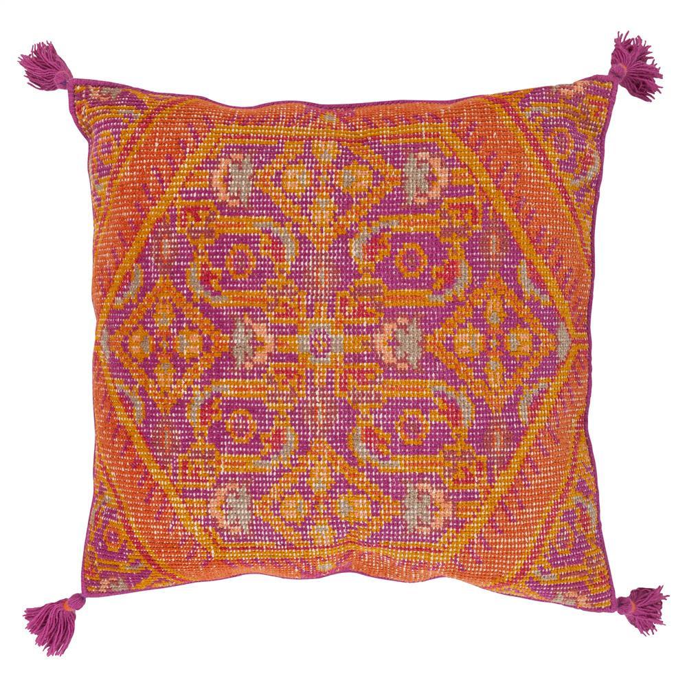 Quira Global Tassel Orange Pink Floor Pillow - 30x30 | Kathy Kuo Home