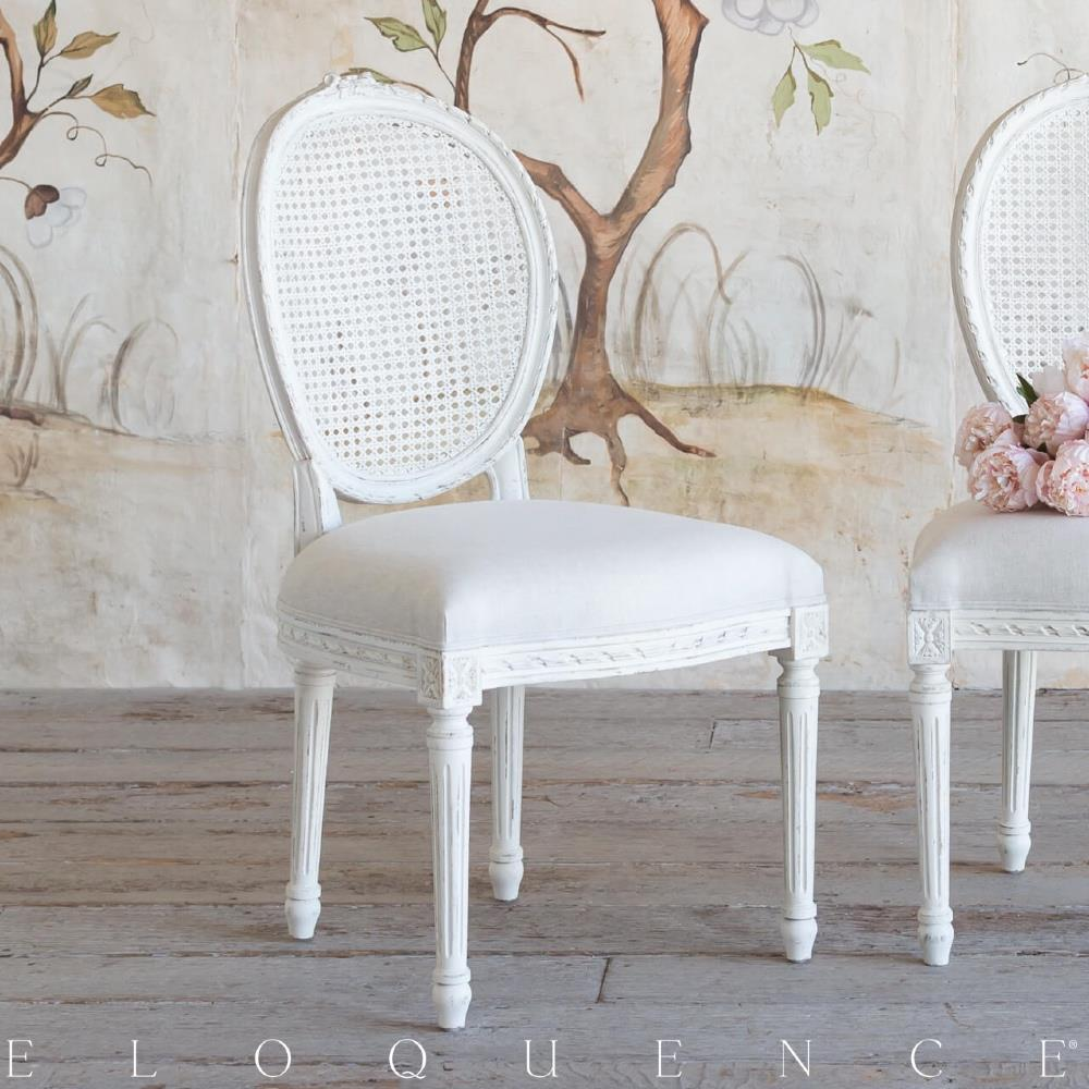 Eloquence Louis Cane Dining Chair in Antique White | Kathy ...