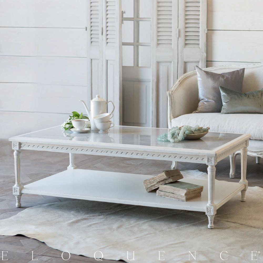 eloquence® grande le courte coffee table in antique white | kathy kuo