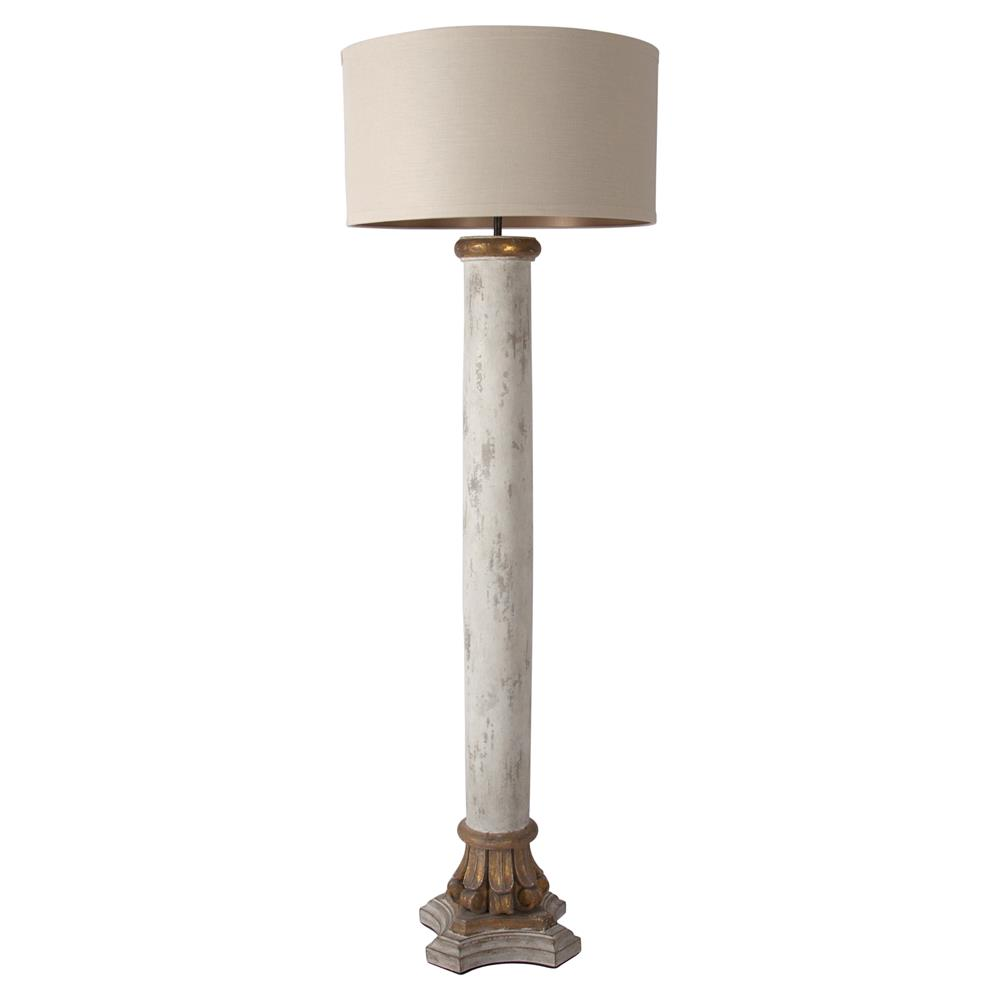 cyrille french country antique white column floor lamp With white french floor lamp