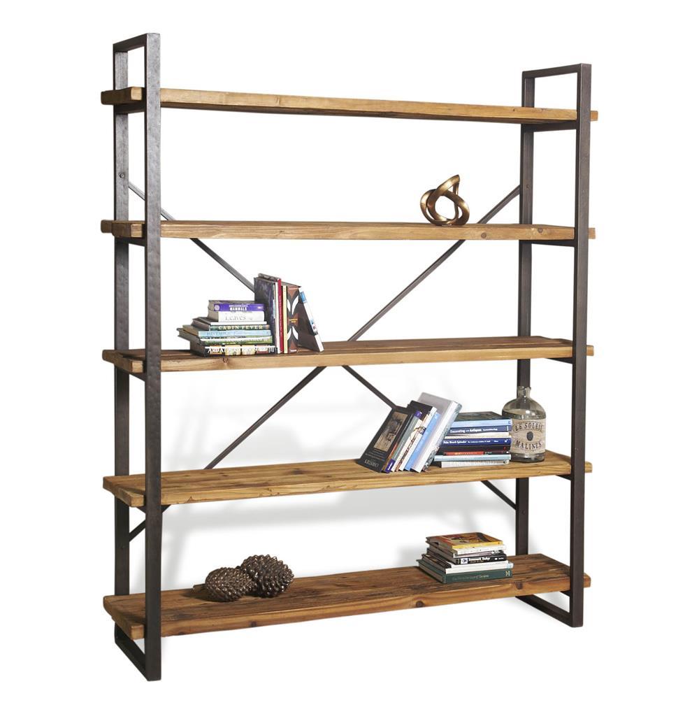 Milner rustic solid wood raw steel large bookcase kathy