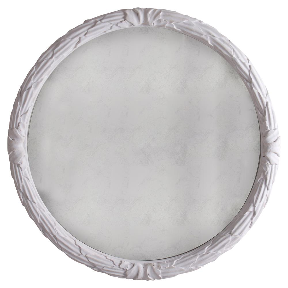 Cyprien french country white floral engraved round wall mirror for White round wall mirror