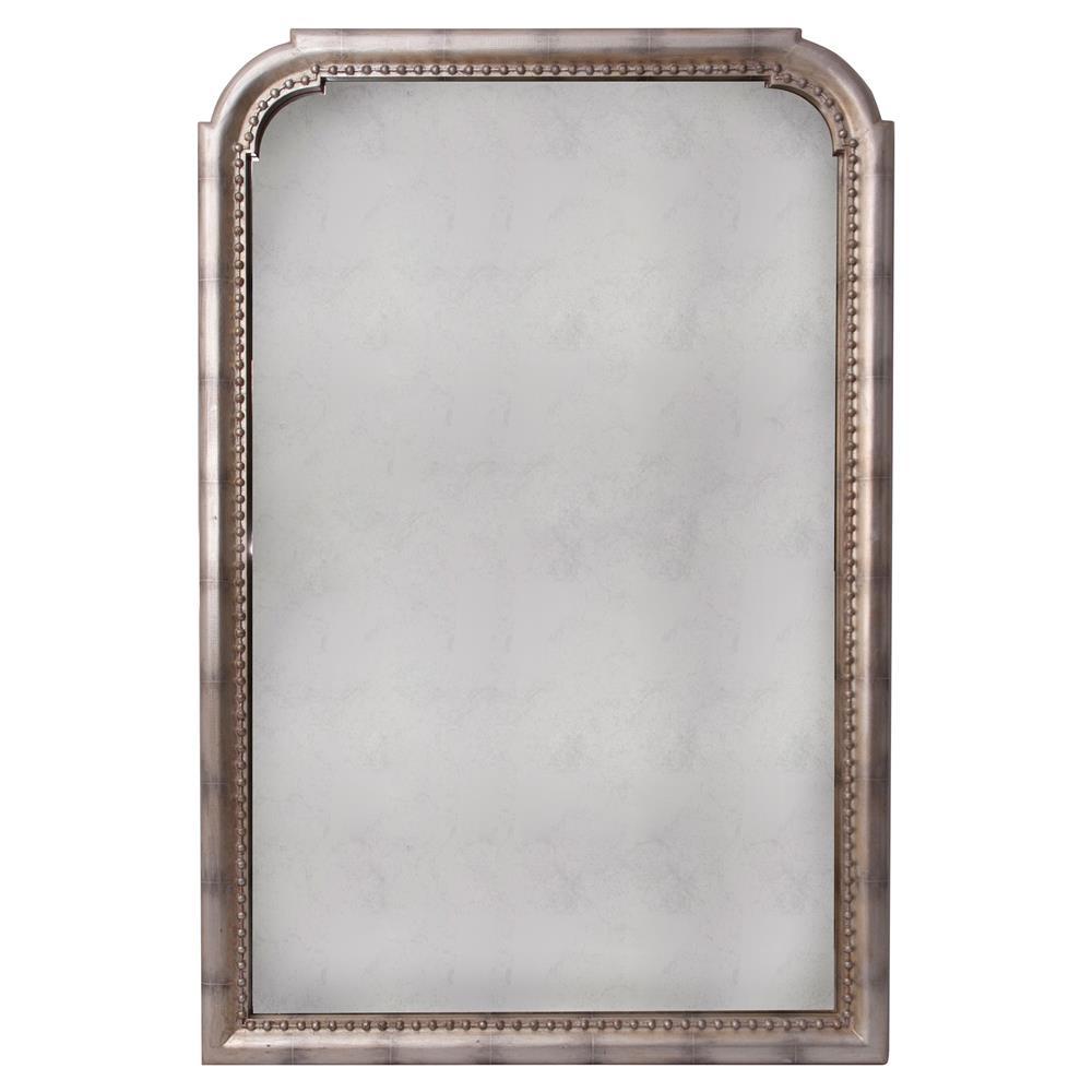 Etien French Country Dark Grey Metal Nailhead Trim Wall Mirror