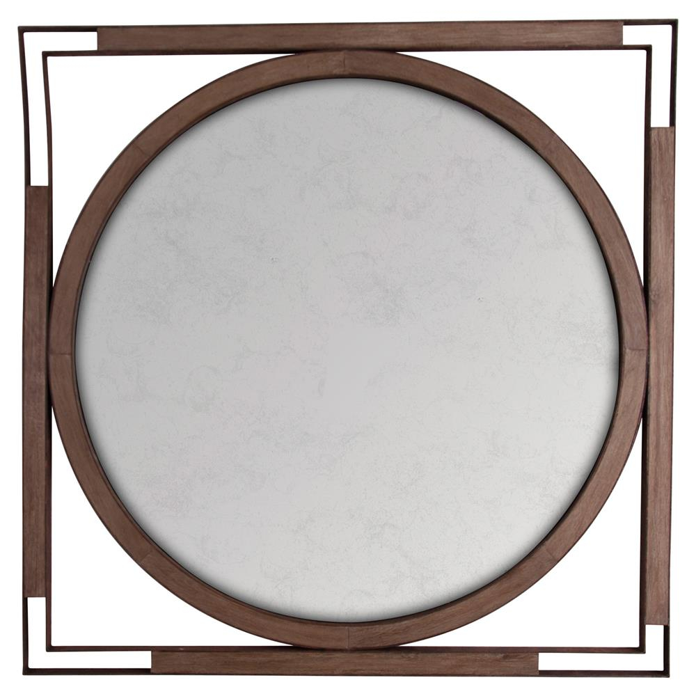 Harwich rustic brown wood black round square wall mirror for Round wood mirror