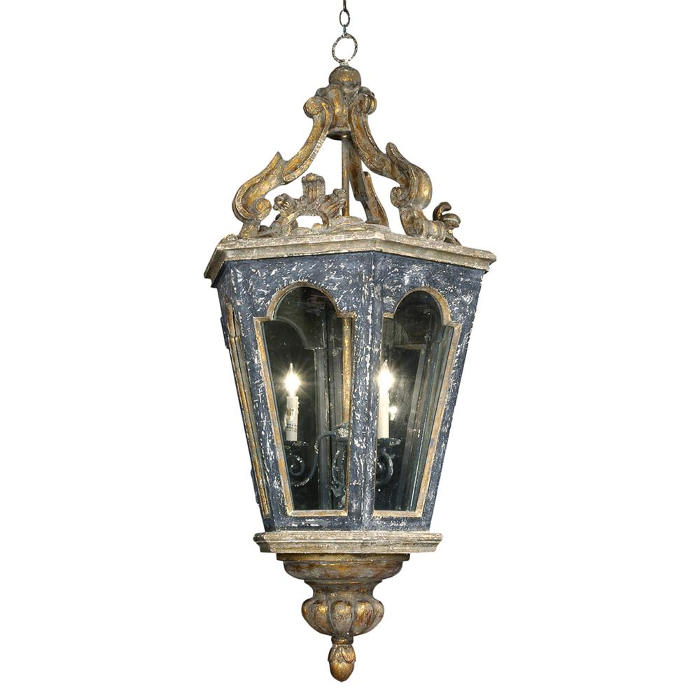 French Country Blue Lamps: Harrietta French Charcoal Gold Carved Lantern Pendant
