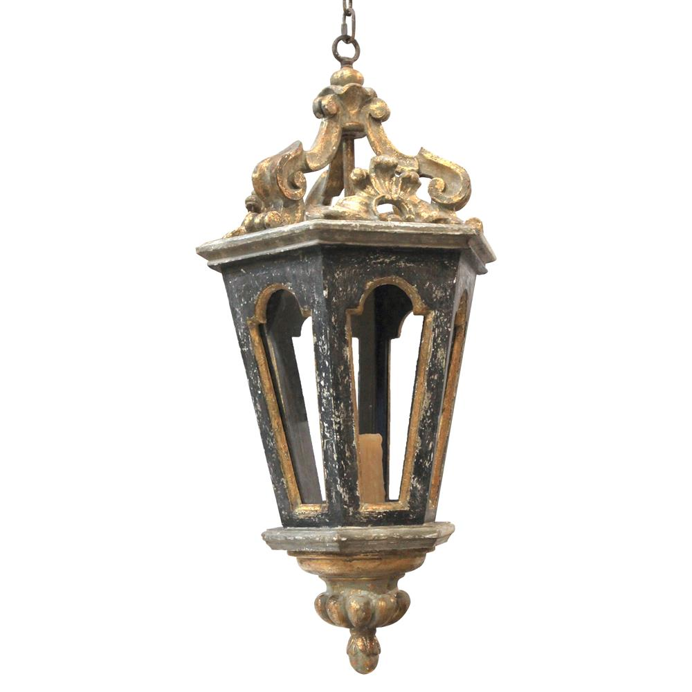 Harrietta French Charcoal Gold Carved Lantern Pendant