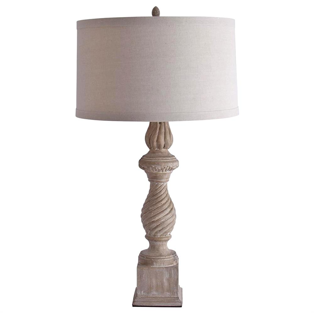 Dorthe French Country Carved Candlestick Table Lamp