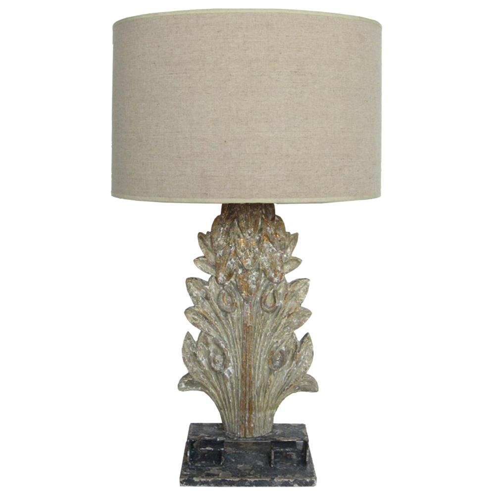 table lamps eleonora french country antique grey acanthus table lamp. Black Bedroom Furniture Sets. Home Design Ideas