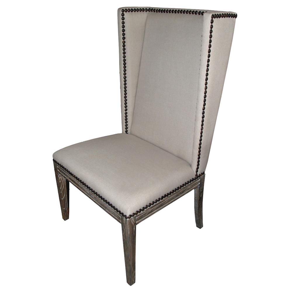 Lionel modern grey wing back armless nailhead dining room for Contemporary dining room chairs