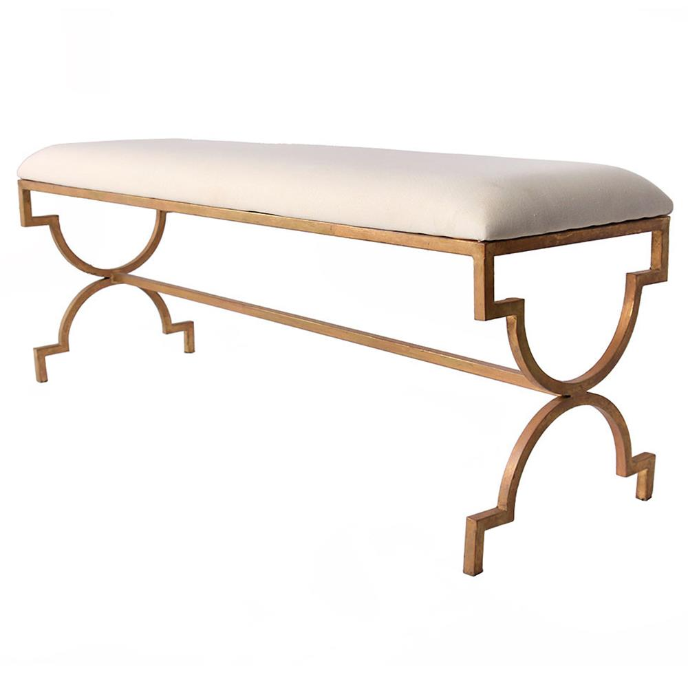 Upholstered Bench Beige: Delrey Modern Antique Gold Frame Beige Upholstered Bench