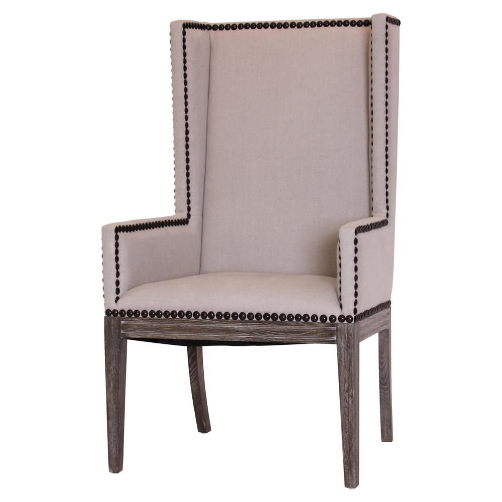 Lionel modern taupe wing highback nailhead dining room for Wing back dining chairs