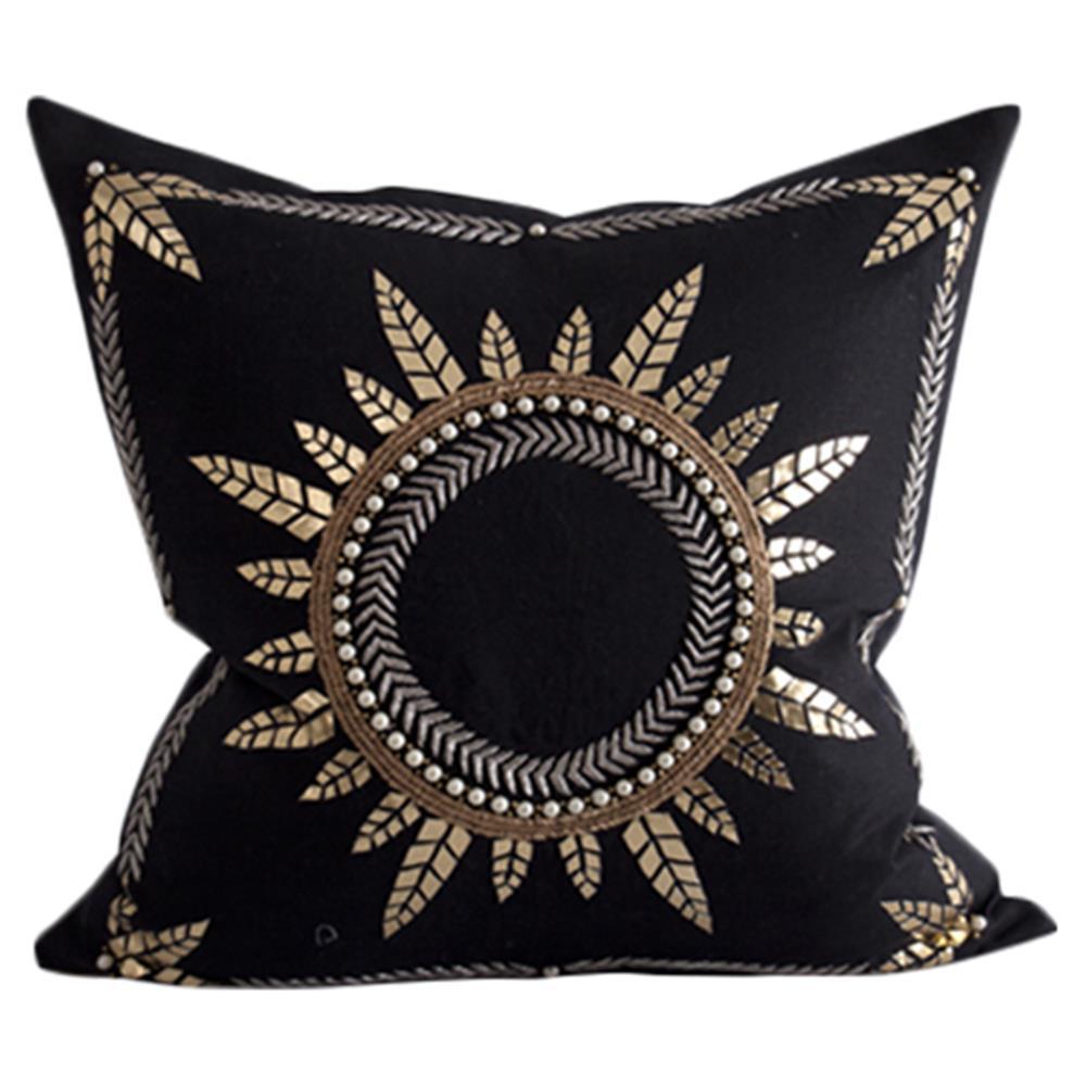 Eko Global Bazaar Black Gold Foil Sun Decorative Pillow 24x24