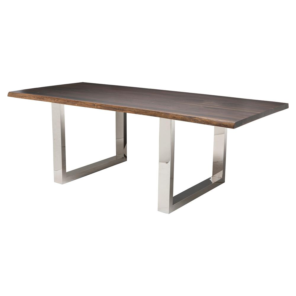 Zinnia industrial brown oak stainless steel dining table 78w for Stainless steel dining table