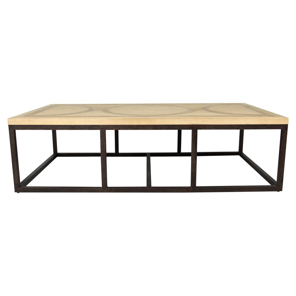 Rollins Industrial Loft Bronze Iron Coffee Table: Normand Industrial Loft Masculine Wood Iron Coffee Table