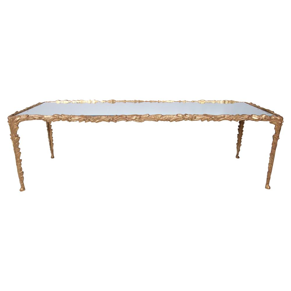 Blanchard french gilded gold feather metal coffee table kathy kuo home Gold metal coffee table