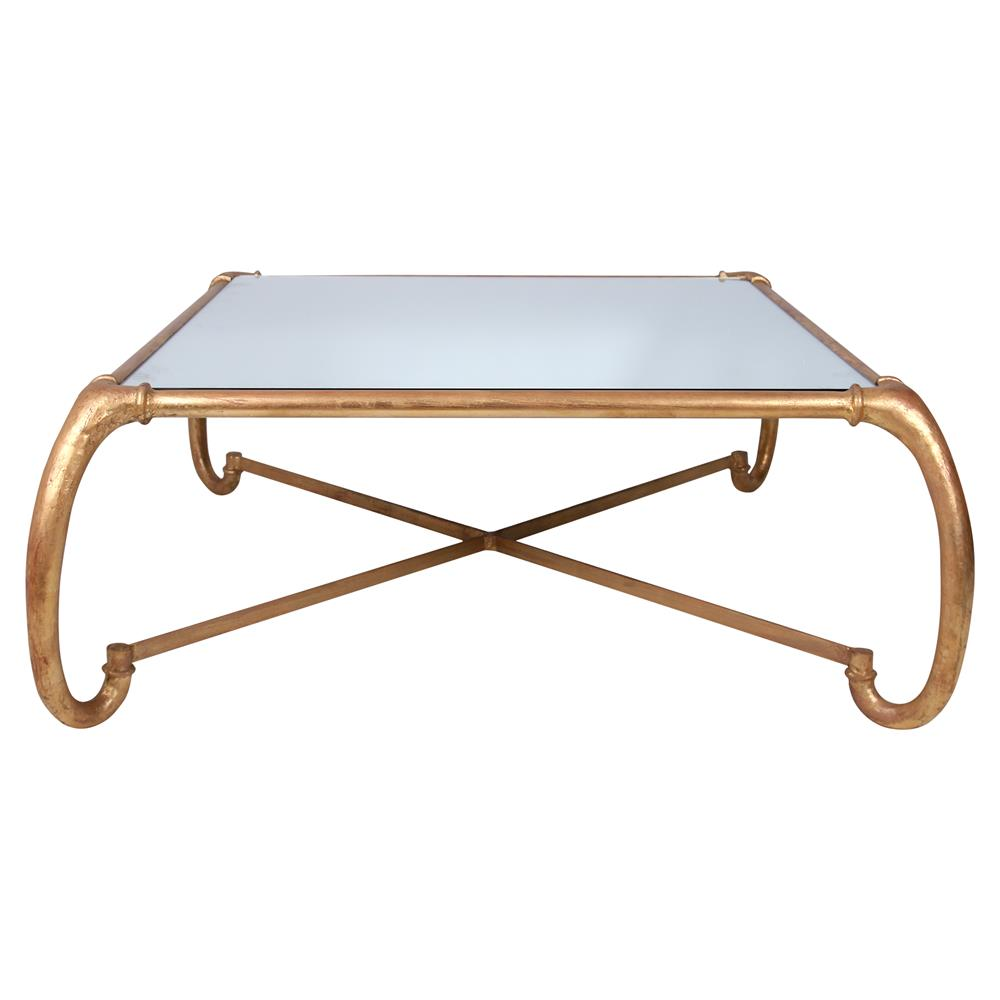 Eldon hollywood regency curved gold metal coffee table kathy kuo home Gold metal coffee table