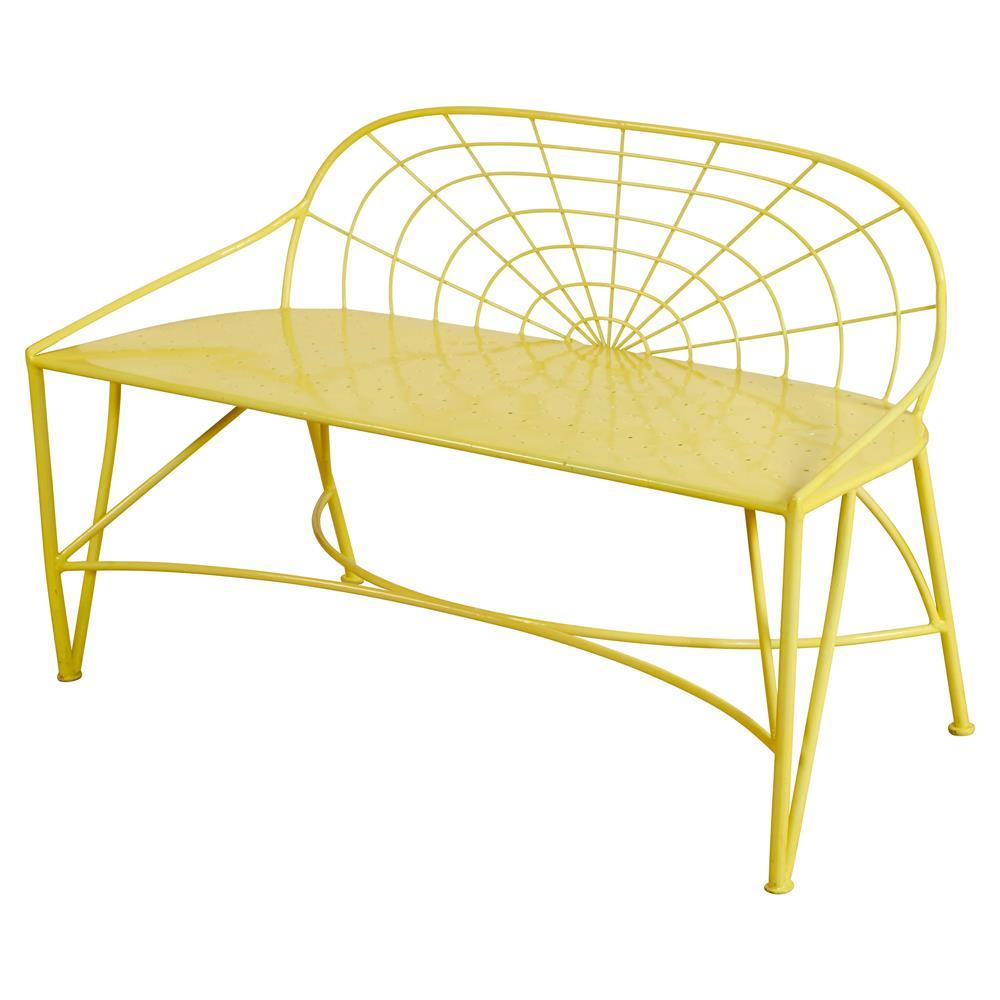 Metellina Modern Classic Metal Garden Bench   Lemon Yellow | Kathy Kuo Home  ...