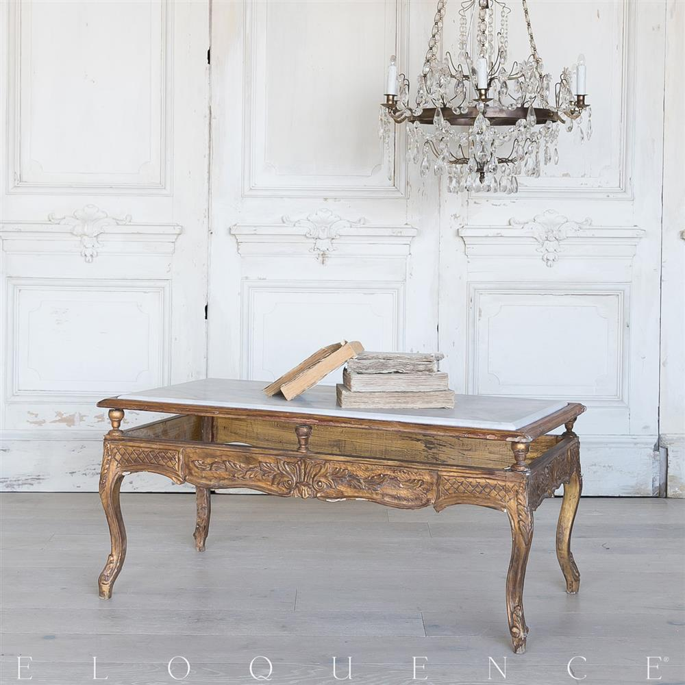 Eloquence French Vintage Gold Wood Carved Marble Coffee Table