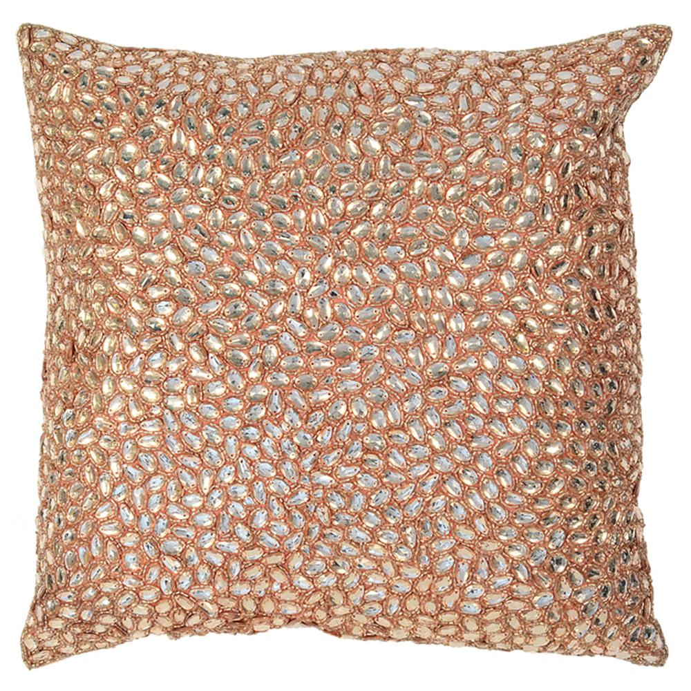 Pink Beaded Decorative Pillow : Marion Light Pink Jeweled Hand Beaded Pillow - 10x10 Kathy Kuo Home