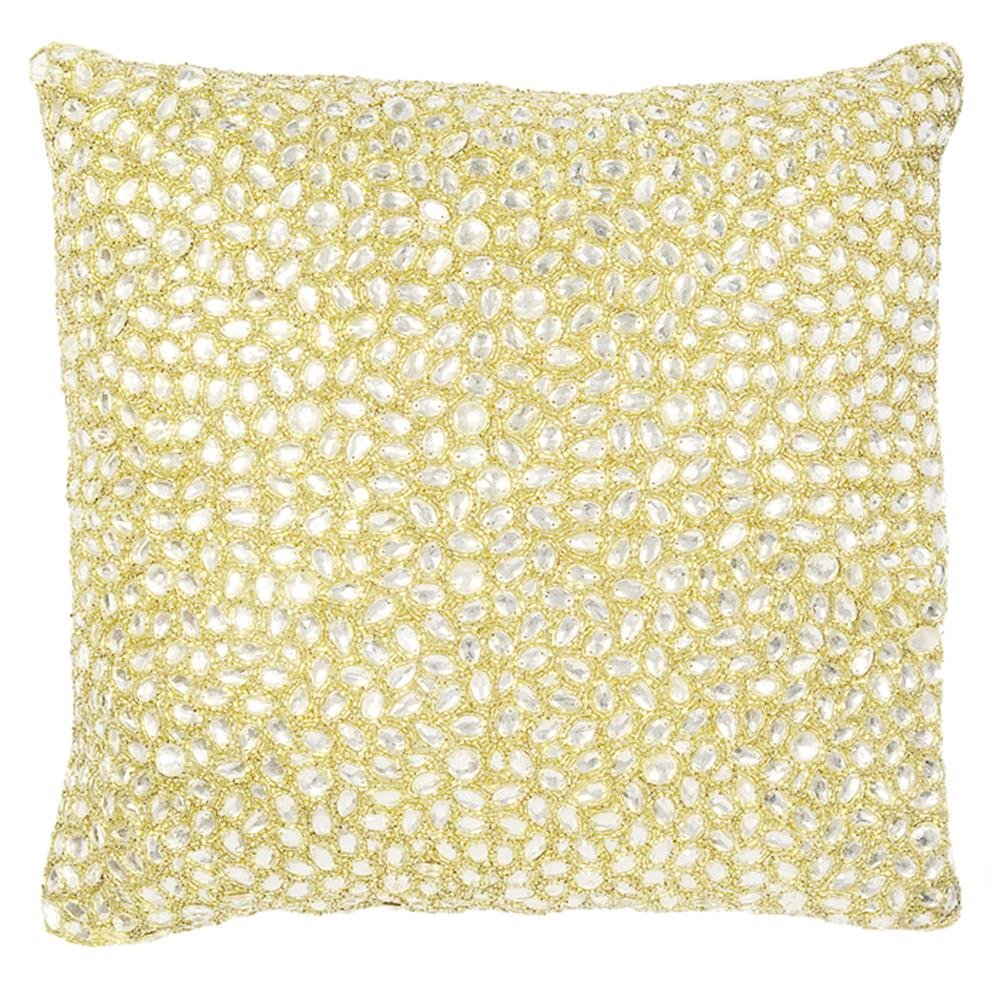 marion white jeweled beaded pillow 18x18