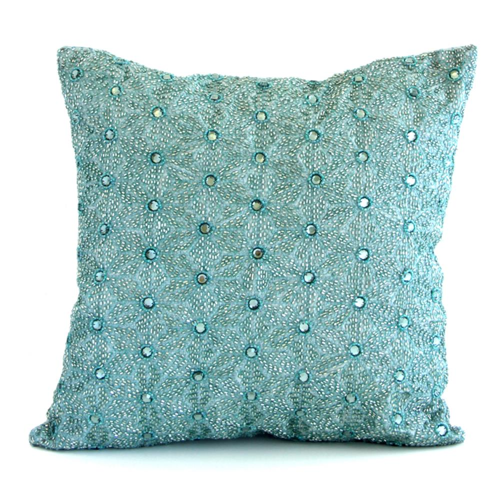 Decorative Jeweled Pillows : Heather Blue Jeweled Hand Beaded Pillow - 16x16 Kathy Kuo Home