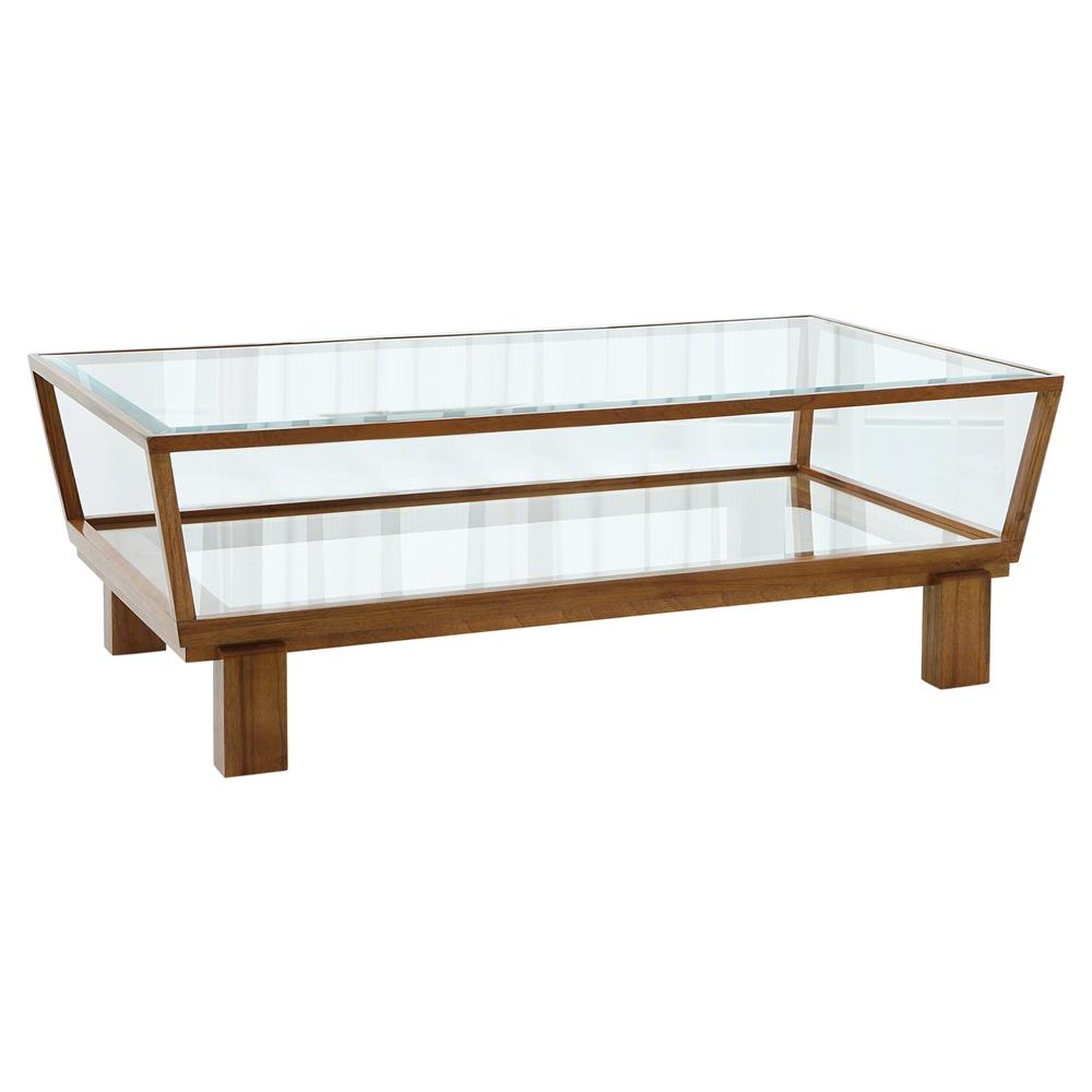 Wendell Modern Brown Wood Glass 2 Tier Coffee Table Kathy Kuo Home