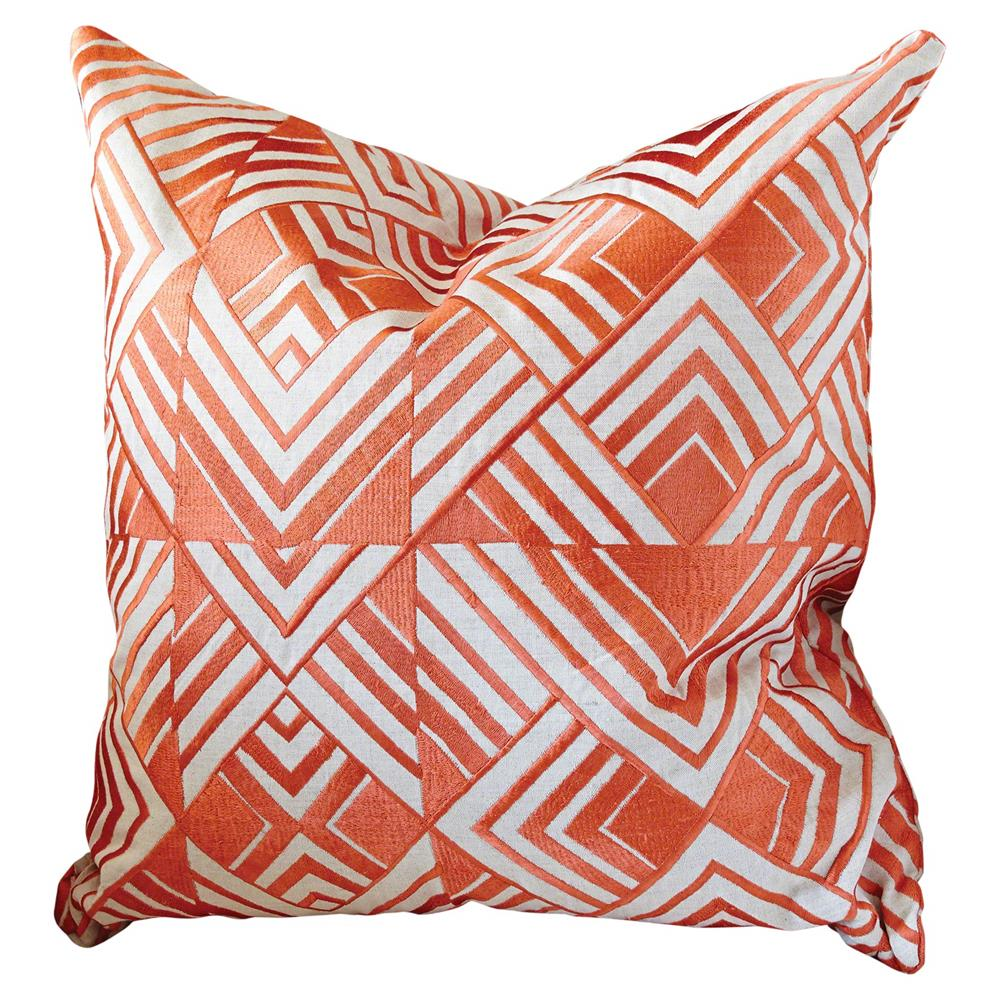 Modern Embroidered Pillow : Modern Orange Geometric Chevron Embroidered Pillow - 20x20 Kathy Kuo Home