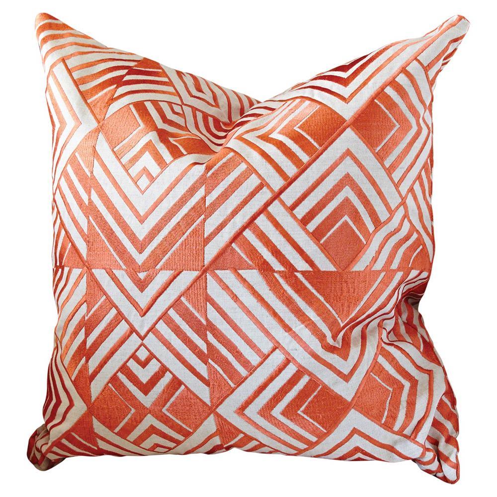 Modern Orange Geometric Chevron Embroidered Pillow - 20x20 Kathy Kuo Home