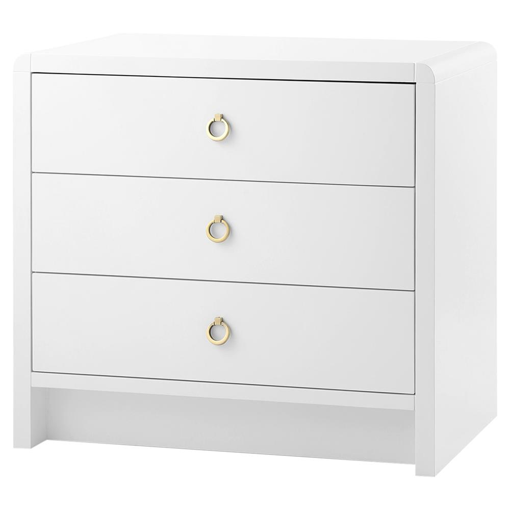 Westby modern white lacquer gold ring wood nightstand for White wood nightstand