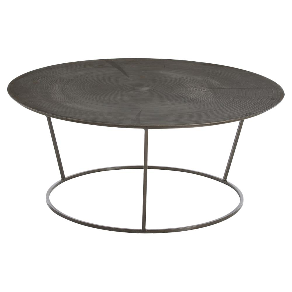 Arbor Industrial Tree Etched Round Iron Coffee Table