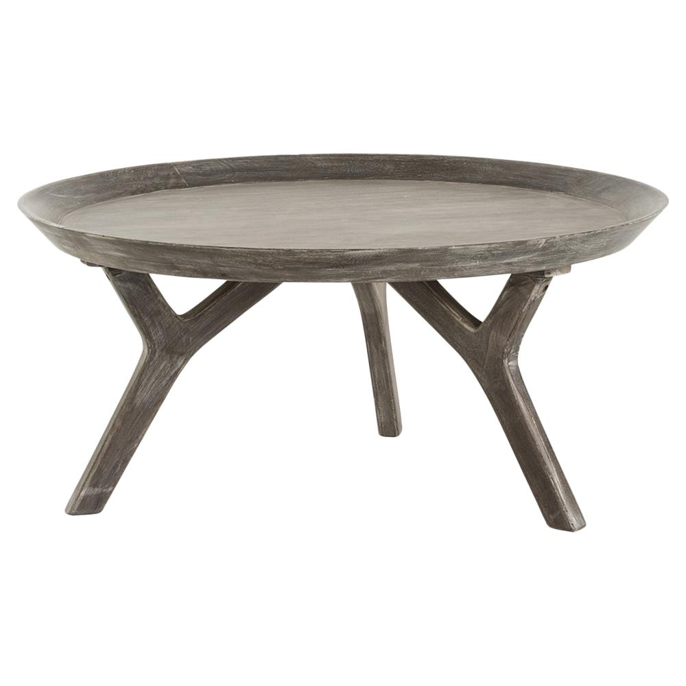 rayvon rustic grey wood round tray coffee table kathy kuo home. Black Bedroom Furniture Sets. Home Design Ideas