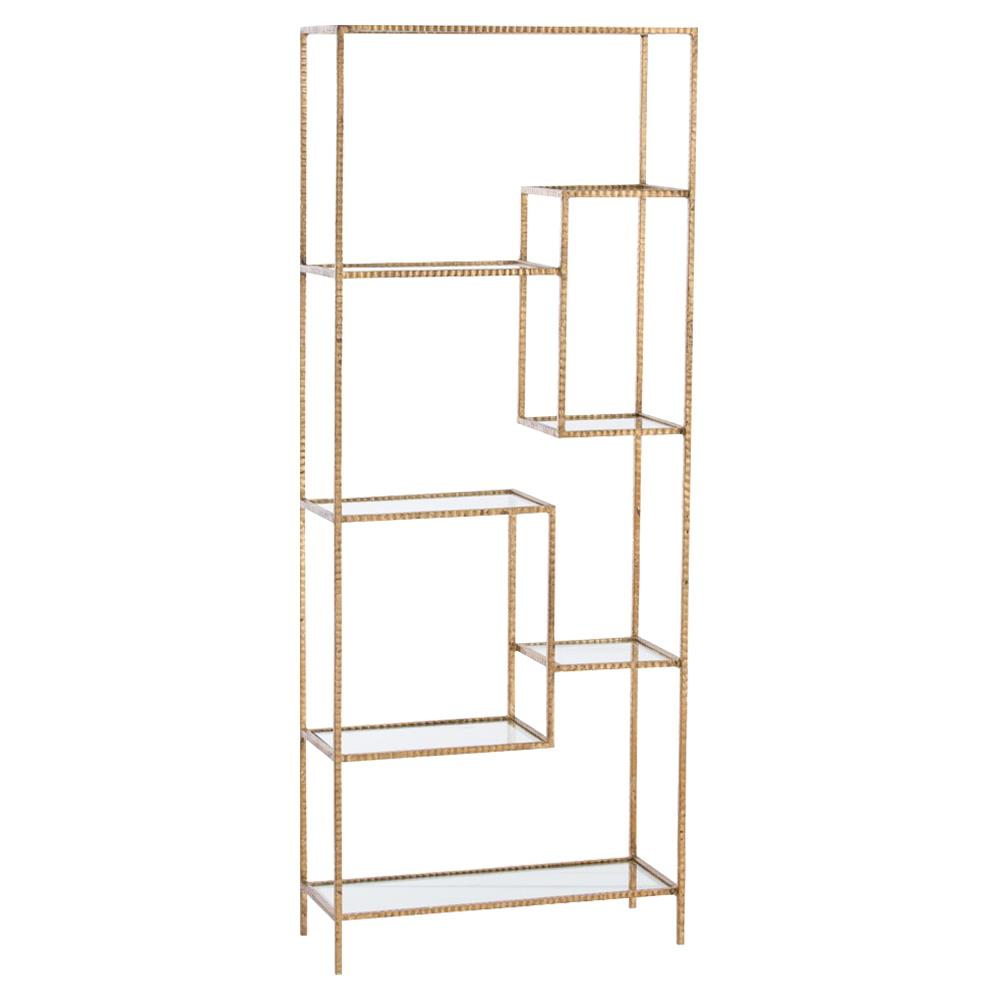 worthington regency studded iron etagere gold kathy kuo home. Black Bedroom Furniture Sets. Home Design Ideas