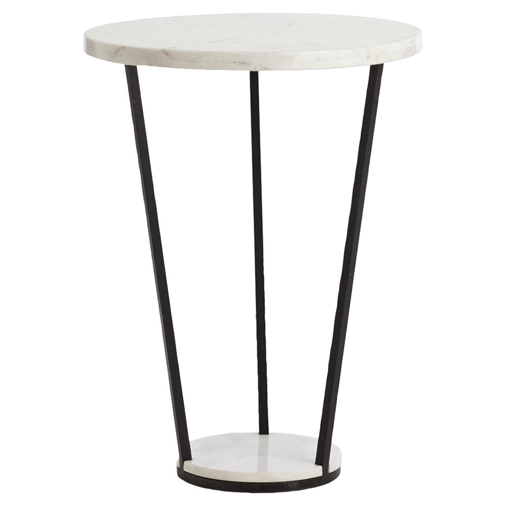 Iron Side Table ~ Wisal industrial black iron white marble end table kathy