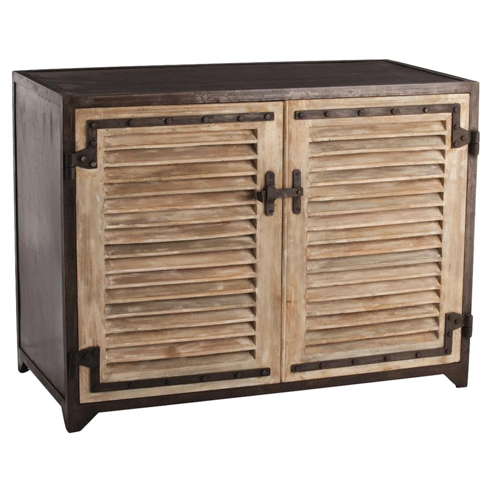 Leon Rustic Lodge Wood Shutter Iron Cabinet | Kathy Kuo Home