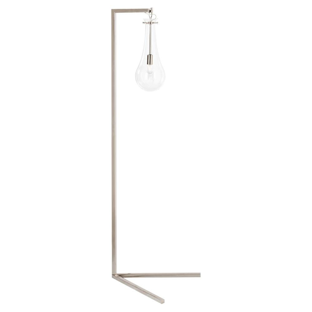 Fiyero modern glass tear drop floor lamp silver kathy kuo home mozeypictures Choice Image
