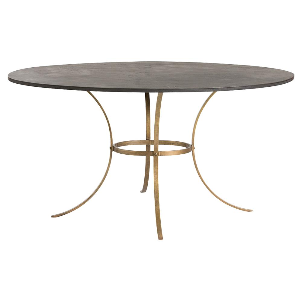 Piper industrial iron oval curved brass dining table Oval dining table