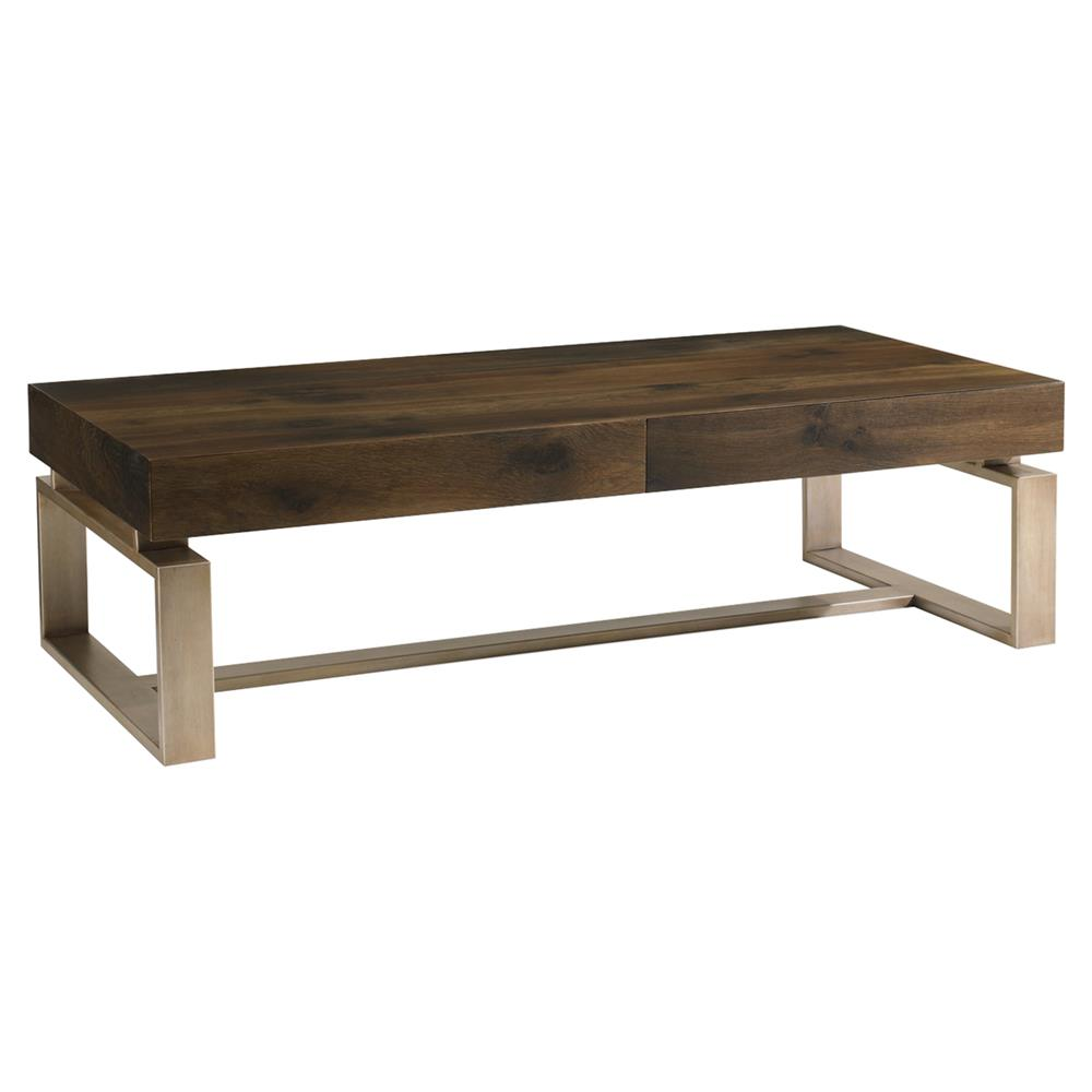Patrick rustic antique brass oak wood coffee table kathy kuo home Antique brass coffee table